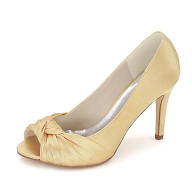 Basique de Eté Ivoire Chaussures Talon Bout Femme Chaussures Bleu Escarpin Champagne 06409723 mariage ouvert Aiguille Printemps Satin q4FxXS