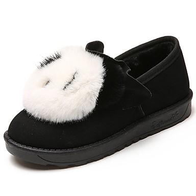 Damskie Obuwie Nubuk Zima Comfort Mokasyny i pantofle Okrągły Toe Black / Gray