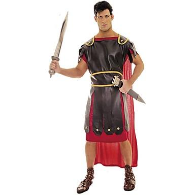 Gladiatorki Średniowieczne / Starożytny Rzym Kostium Męskie Stroje / Bal maskowy Czerwony Postarzane Cosplay Poliester Kostiumy na Halloween