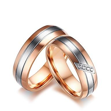 Męskie Damskie Zestaw Pierścieni Pierścionek zaręczynowy Cyrkonia Rhinestone Różowe złoto Cyrkonia Stal tytanowa Ślub Party Wieczór