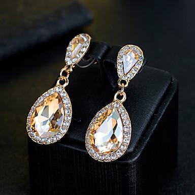 Damskie Kolczyki wiszące Rhinestone Kryształ górski Biżuteria Light Gold Ślub Party Wieczór Biżuteria kostiumowa