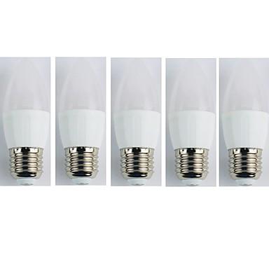 5pcs 4W 300 lm E27 Żarówki LED kulki C35 6 Diody lED SMD 3528 Ciepła biel AC 110-240V