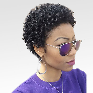 Human Hair Capless Wigs Human Hair Kinky Curly Afro African American Wig Short Machine Made Wig Women's