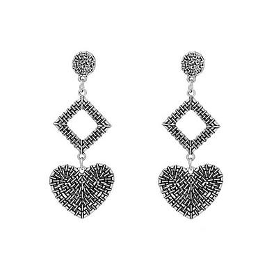 Damskie 2szt Kolczyki na sztyft Rhinestone Metaliczny Vintage Pozłacane Geometric Shape Serce Biżuteria Gold Silver Impreza Wyjściowe