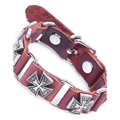 abordables Bracelet-Chaînes Bracelets Bracelets en cuir Bracelet Chaîne Homme Cuir énorme Bracelet Bijoux Noir Café Forme de Cercle pour Plein Air