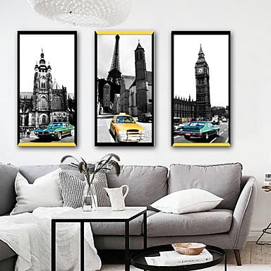 Krajobraz Achitektura Ilustracja Wall Art,PVC (polichlorek winylu) Materiał z ramą For Dekoracja domowa rama Art Living Room Sypialnia