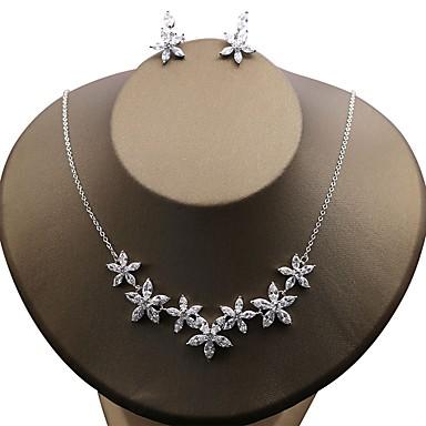 Damskie Cyrkonia Cyrkon Kwiatowy Biżuteria Ustaw Zawierać - Kwiatowy Cyrkon Na Ślub Impreza