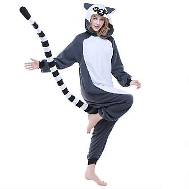 Pijamas Kigurumi Lemur / Macaco Pijamas Macacão Ocasiões Especiais Lã Polar / Fibra Sintética Cinzento Cosplay Para Adulto Pijamas Animais