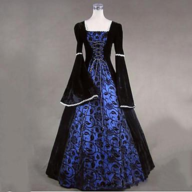 Steampunk® 빈티지 빅토리안 코스츔 여성용 드레스 파티 코스튬 가면 블랙 빈티지 코스프레 레이스 긴 소매 긴 길이