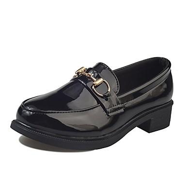 Damen Schuhe PU Winter Komfort Loafers & Slip-Ons Runde Zehe für Normal Schwarz Burgund