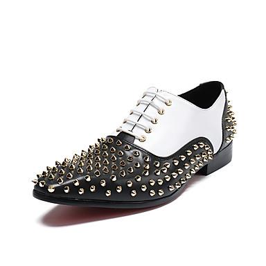 Herrn Schuhe Nappaleder Leder Frühling Sommer formale Schuhe Neuheit Komfort Outdoor Niete Kombination Schnürsenkel für Hochzeit Party &