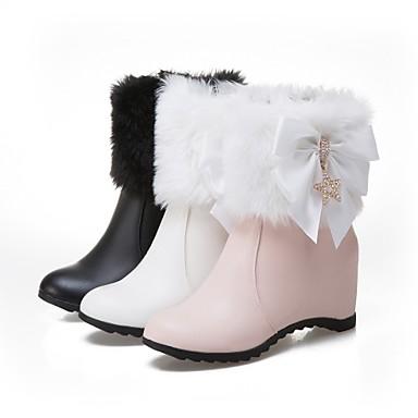 Hiver la Botte Noir Mode Bottine à Chaussures Demi Bottes Similicuir Bout Blanc Bottes 06390464 Boucle rond Rose Femme Automne xAtYqOf