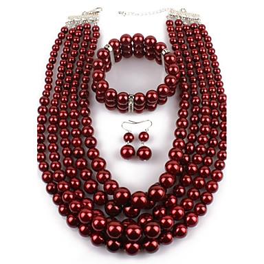 Damen Schmuck mit Aussage Normal Party Künstliche Perle Kreisform Halskette Ohrringe Armbänder