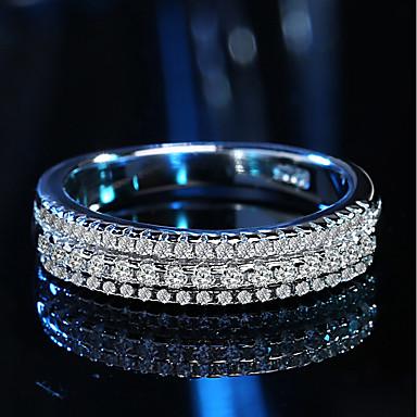 Damskie Cyrkonia Rhinestone Cyrkonia Srebrny Pierścionek zaręczynowy Band Ring - Silver Pierścień Na Ślub Party Wieczór