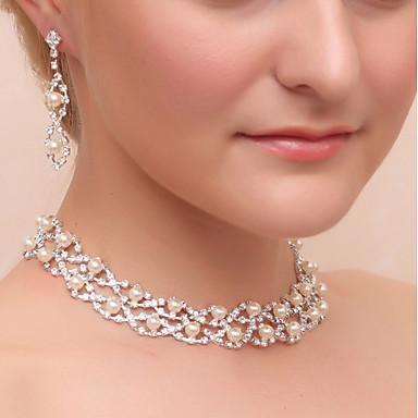 Damskie Rhinestone Imitacja pereł Imitacja diamentu Biżuteria Ustaw 1 Naszyjnik Náušnice - Klasyczny Geometric Shape Silver Kolczyki