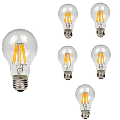 billige Elpærer-6pcs 8 W LED-glødepærer 760 lm E26 / E27 A60(A19) 8 LED perler COB Dekorativ Varm hvit Kjølig hvit 220-240 V / RoHs