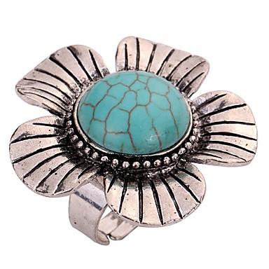 Damskie Band Ring Turkusowy Silver Turkusowy Stop Lampka zmieniająca kolory Kwiatowy Klasyczny Vintage Codzienny Biżuteria kostiumowa
