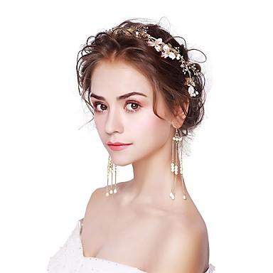 Damskie Pearl imitacja Biżuteria Ustaw Nakrycia głowy, Kolczyki wiszące - Gold