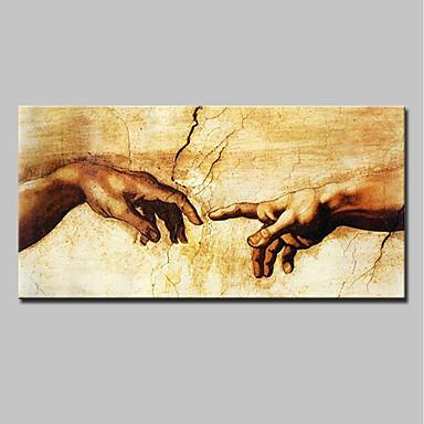 Hang-Malowane obraz olejny Ręcznie malowane - Ludzie Nowoczesny Brezentowy / Walcowane płótno