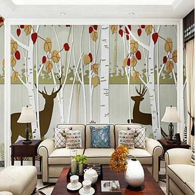 Liście drzew / Art Deco 3D Dekoracja domowa Współczesny קלאסי Rustykalny Tapetowanie, Brezentowy Materiał klej wymagane Fresk, Pokój tapet