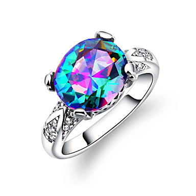 Damskie Band Ring Rhinestone Lilac Kryształ górski Srebrny Ślub Impreza Biżuteria kostiumowa