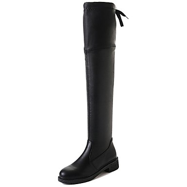Damskie Obuwie PU Zima Modne obuwie Comfort Buciki Okrągły Toe Udo wysokiej Boots na Casual Black Gray Khaki