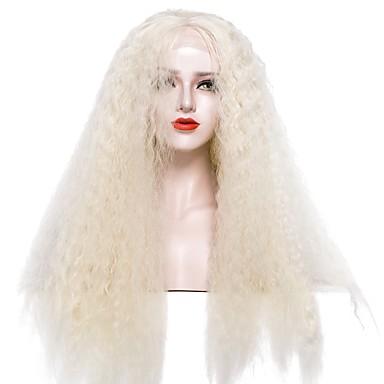 Syntetyczne koronkowe peruki Afro Kinky Blond Damskie Koronkowy przód Peruka imprezowa Peruka naturalna cosplay peruka Długo Włosy