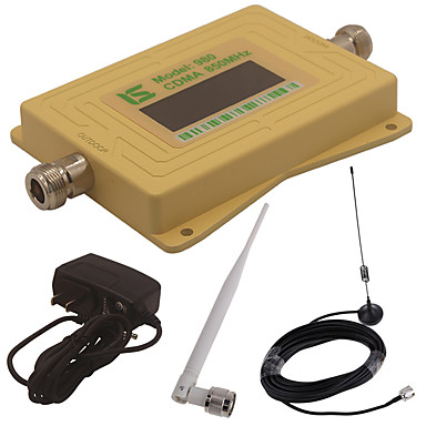 Mini intelligente lcd-anzeige cdma980 850 mhz handy signal booster repeater mit outdoor sucker antenne / innen peitsche antenne gelb