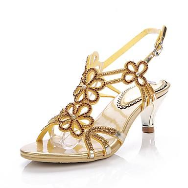 Paillette Mode Boucle Strass Femme Printemps Eté Or à la ouvert Chaussures Bottes Brillante Bout Cristal 06354718 Polyuréthane Sandales WO4qFr0aO
