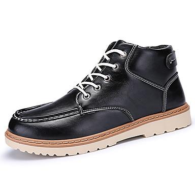 Herren Schuhe PU Frühling Herbst Komfort Stiefel Für Schwarz Braun Blau