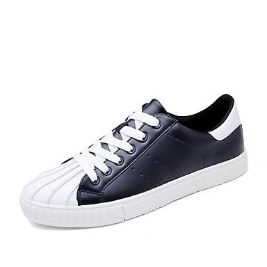 Herren Schuhe PU Frühling Herbst Komfort Sneakers Schnürsenkel Für Normal Schwarz Blau