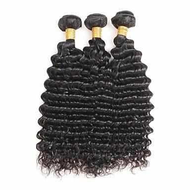 3 zestawy Włosy indyjskie Deep Wave Włosy naturalne remy Fale w naturalnym kolorze Ludzkie włosy wyplata Ludzkich włosów rozszerzeniach
