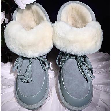 Damen Schuhe Pelz Frühling Herbst Schneestiefel Komfort Stiefel für Normal Schwarz Grau