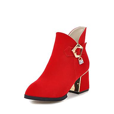 ... à Bottine Boucle Bottes Bottier Similicuir Bottes Demi Chaussures Botte  06096450 la Rouge Mode Talon Hiver ... 2e5f87ff003a