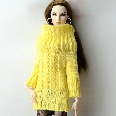 voordelige Poppenaccessoires-Doll Top Tops Voor Barbie Geel Wollen Stof Kunstmatige Wol Top Voor voor meisjes Speelgoedpop