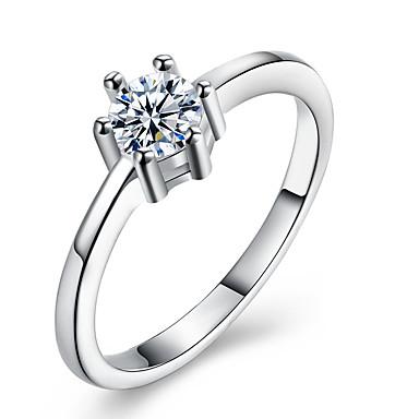 Damskie Kryształ Cyrkon Stop Band Ring - 1 Circle Shape Klasyczny Modny Silver Pierścień Na Ślub Impreza Urodziny Zaręczynowy Prezent