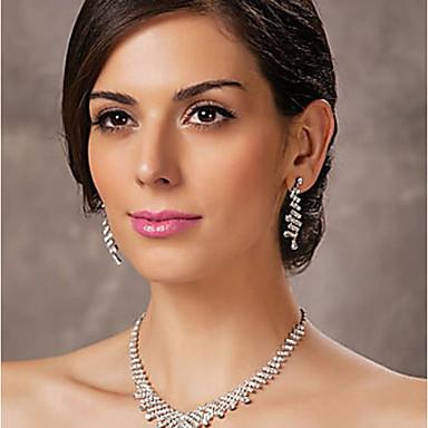 Damskie Biżuteria Ustaw - Imitacja diamentu Klasyczny Zawierać Kolczyki drop Naszyjniki Srebrny Na Ślub Impreza