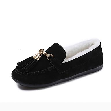 Damskie Obuwie PU Wiosna Zima Comfort Mokasyny i pantofle na Na wolnym powietrzu Black Gray Brown