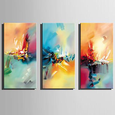 Hang-Malowane obraz olejny Ręcznie malowane - Streszczenie Rustykalny / Nowoczesny Brezentowy / Trzy panele / Rozciągnięte płótno