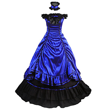 Vintage / Gothic / Victorian Costume Women's Dress / Party Costume / Masquerade Blue Vintage Cosplay Satin Sleeveless Cap Sleeve Floor Length