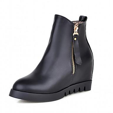 Damen Schuhe Kunstleder PU Winter Komfort Neuheit Stiefeletten Stiefel Runde Zehe Booties / Stiefeletten Reißverschluss für Kleid Party &