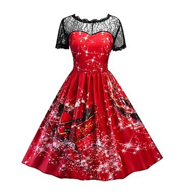 Damskie Świąteczna sukienka Cosplay Czerwony Krótki rękaw Kostiumy na Halloween