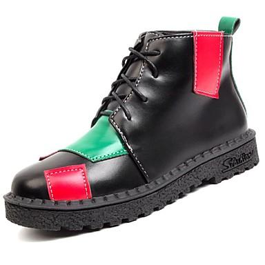Damen Schuhe PU Herbst Modische Stiefel Stiefel Runde Zehe Schnürsenkel für Normal Weiß Schwarz