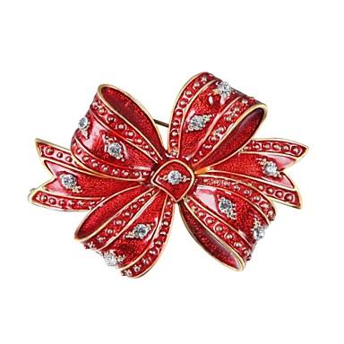 Męskie Damskie Broszki Prezent Cyrkon Pozłacane Stop Bowknot Shape Czerwony Biżuteria Na Święta Bożego Narodzenia Sylwester / Nowy Rok
