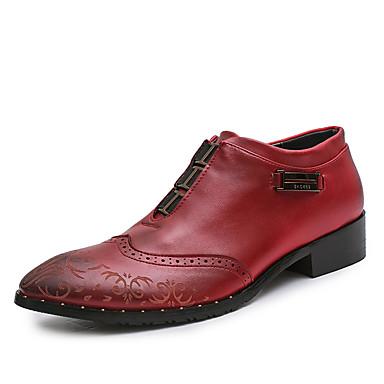Męskie Buty Jeans Wiosna Jesień Comfort Oksfordki na Na wolnym powietrzu Black Brown Czerwony