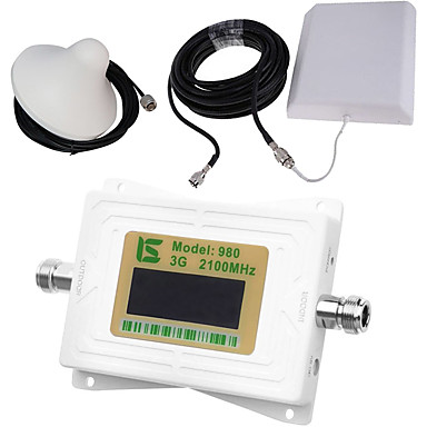 Mini intelligente lcd display umts 3g980 2100 mhz handy signal booster repeater mit outdoor panel antenne / indoor decke antenne weiß