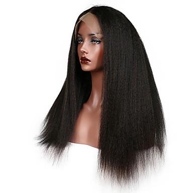 Włosy remy Koronkowy przód Peruka Włosy brazylijskie Kinky Straight Z baby hair 130% 150% 180% Gęstość Peruka afroamerykańska Krótki
