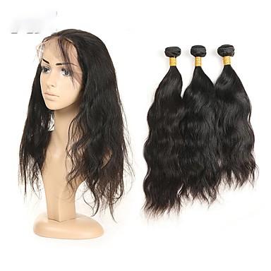 baratos Extensões de Cabelo Natural-3 pacotes Cabelo Peruviano Ondulado Natural Cabelo Natural Remy Cabelo Humano Ondulado Tramas de cabelo humano Extensões de cabelo humano