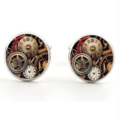 cheap Men's Jewelry-Circular Silver / Golden Cufflinks Alloy Dresswear Men's Costume Jewelry For Daily