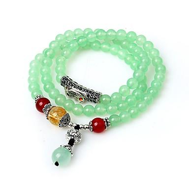 abordables Bracelet-Bracelet à Perles Bracelets Plusieurs Tours Femme Emeraude synthétique dames Asiatique Classique Bracelet Bijoux Vert Forme de Cercle pour Anniversaire Ecole